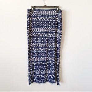 LOFT Aztec/ Boho Maxi Skirt with Slit